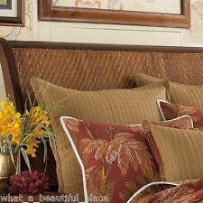 (1) Tommy Bahama Orange Cay Quilted Euro Sham Wicker Print Tropical Brown Tone