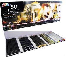 50 Artistas Esbozo Lápices Acuarelas Carbón Metálico Regalo Del Día De La Madre