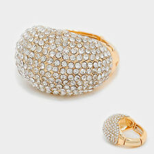 LUSH Gold  Crystal Glam Big Dome Stretch Cocktail Ring By Rocks Boutique