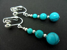 A PAIR OF TURQUOISE BLUE  SILVER PLATED CLIP ON   EARRINGS. NEW.