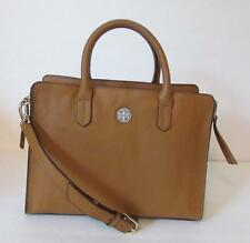 Tory Burch Brody Square Tote Bark leather crossbody bag satchel brown tan strap