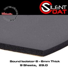 Silent Coat Noise Isolator 6 - 9 Sheet Pack 50cm x 60cm Deadening 6mm Thick