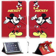 """Lovely Mickey Minnie Leather Case Cover For Universal 7"""" ~7.9"""" Tablets Best Gift"""