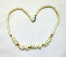 White Chip Stone Gold & Silver Bead Necklace