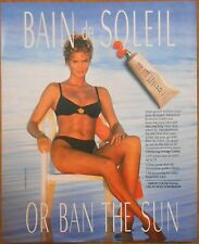 1991 original beauty AD lady in black bikini Bain de Soleil or Ban the Sun
