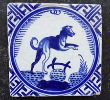 Antique Superb Rare Dutch Delft Tile Jumping Dog Circa 1625 ''Kroontjes tegel