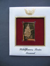 1992 Wildflower Series Fireweed 22kt Gold GOLDEN Cover replica FDC FDI STAMP