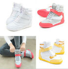 Womens 2016 New High Top Hidden Wedge Sneakers Lace Up Sport Fashion Shoes Boots