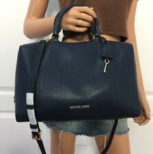 Michael Kors Navy Blue Large Kirby Satchel Leather Signature Shoulder Bag Purse