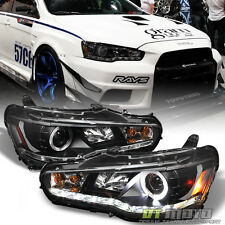 Black 2008-2016 Lancer EVO-X Halo Projector Headlights w/Daytime DRL Led Strip