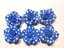 10 Fimo Polymer Clay USA American White Stars  Flower Rose Fimo Beads 30mm