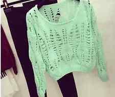 Women Girls Crochet Hollow Crop Loose Pullover Knit Jumper Top Sweater