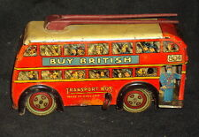 1950 VINTAGE WIND-UP WELLS-BRIM# TOY TINPLATE CLOCKWORK TROLLEY BUS ENGLAND MADE