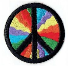 Iron On Embroidered Applique Patch - Rainbow Peace Sign