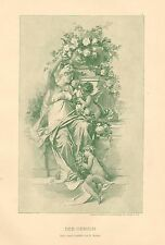 Nude, Flowers, Cupid, Angels, The Smell, Vintage 1893 German Antique Art Print