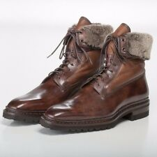 SANTONI *STUNNING* Fatte a Mano Brushed Brown Boots with Shearling Lining 11 US