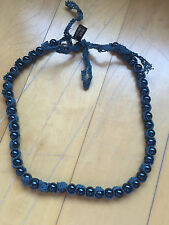 BANANA REPUBLIC Women's Navy Blue Pearl and Crochet Necklace NEW w TAGS