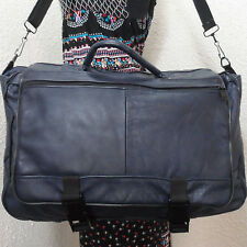 Vintage Navy Blue Leather Messenger Cross-body Satchel Bag School Tote