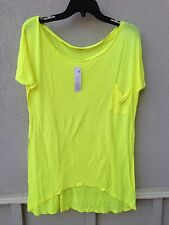 $62 NWT LA Made Super Soft Solid Neon Yellow Boat Neck High Low T Shirt Size M