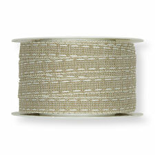 """Natural 12mm/0.5"""" Fabric Ribbon with White Linen Lockstitch Design x 30m/33yds"""