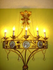 OLD ITALIAN TOLE WALL LAMP-CHANDELIER WITH 5 BULBS AND PORCELAIN PLAQUES