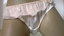 Luxury Ivory Silky Satin n Sheer Bikini Panties Frilly Skirt Knickers   L