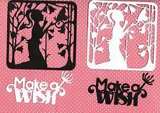 """NEW  LARGE FAIRY SCENE FRAME SILHOUETTE  DIE CUTS- """"MAKE A WISH"""" TOPPER-FLOWER"""