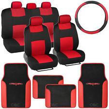 Black & Red Full Bench Seat Cover 14Pc Full Set w/ 2 Tone Vinyl Trim Floor Mat