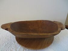 ANTIQUE WOOD DOUGH BOWL TRENCHER TABLE CENTERPIECE PRIMITIVE DECOR HANDCARVED