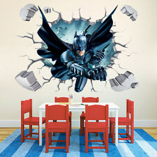 3D Broken Wall Generic Batman Super Man Building Burning Decal Wall Sticker Art
