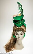 St. Patrick's Day Mini Top Hat Hand Decorated Gr Velour Shamrock Feathered Hat