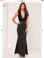 Missguided Black Plunge Lace Top Maxi Dress. Size 4.