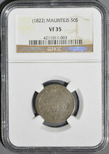 1822 Scarce Mauritius Colonial 50 Sous NGC VF 35