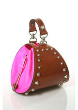 VERSACE Studded Light Brown Tan Leather Hot Pink PVC Side Mini Wrist Bag EVHB