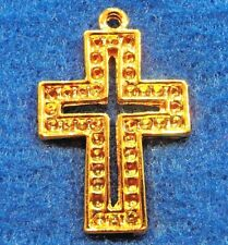 10Pcs. Tibetan Gold-Plated Ornate CROSS Charms Pendants Jewelry Findings CR127