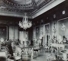 The Cedar Drawing Room, Warwick Castle, England, Magic Lantern Glass Slide