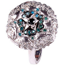1.56+ct REAL ROUGH NATURAL DIAMOND .925 STERLING SILVER RING SIZE 7 see video
