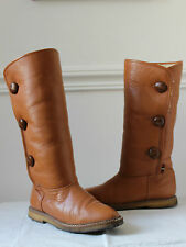 Vintage brown leather sherpa fur wool lined mid calf flat riding boots 4 womens