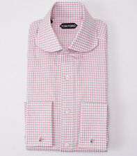 NWT $635 TOM FORD Round Collar Pink Check Dress Shirt Slim-Fit 15.5 French Cuffs