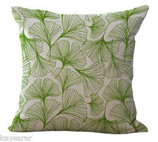 GREEN Summery LEAVES Victorian Cotton Canvas CUSHION COVER Natural Classic Case