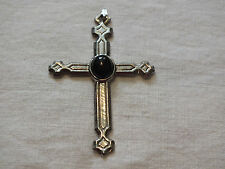 Beautiful Collectible Silver Tone Cross Black Cabochon 2 1/2 Inches Long NICE