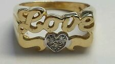 """14 KARAT YELLOW GOLD """" LOVE """" PERSONALIZE  RING WITH DIAMONDS"""