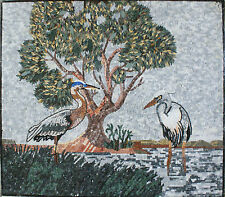Art Tile Stone Forest Lake Two White Herons Marble Mosaic AN946
