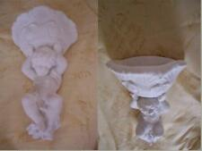 2 x Architectural ornate plaster cherub angel sconce wall hanging decor plaques