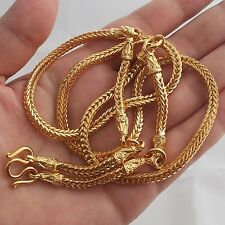 5 Hooks Pillar Snake Bone Gold Plated Necklace Phra Thai Buddha Amulet Hanging