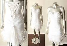 Ostrich Feather Organza Floral Corset Lace Up Party Wedding White Dress Sz M
