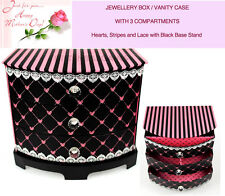 Jewellery Box Vanity Cabinet Armoire Black Pink Hearts Valentine Gift 3 Drawers