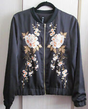 Design Lab (Lord & Taylor) Black Embroidered Bomber Jacket Coat - NEW - Medium