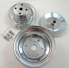 SB Chevy SBC Chrome Steel 2 Groove Long Water Pump Pulley Kit Set 69 86 327 350