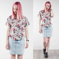 WOMENS RETRO FLORAL PATTERNED PEPLUM BLOUSE SHIRT CUTE SUMMER VINTAGE 80'S 10